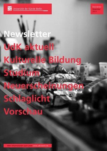 Newsletter Dezember 2013 - Universität der Künste Berlin
