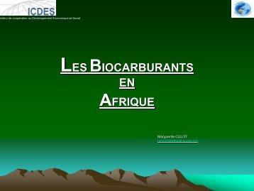 LES BIOCARBURANTS EN AFRIQUE - Sucre Ethique