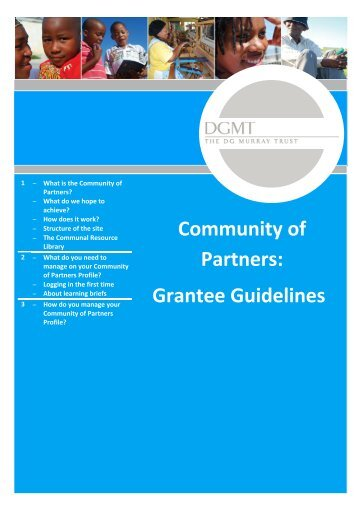 Community of Partners: Grantee Guidelines