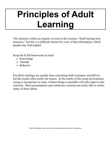 Principles of Adult Learning - Vision Realization