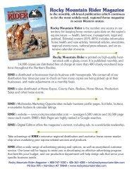 Advertising Rates - Rocky Mountain Rider Magazine