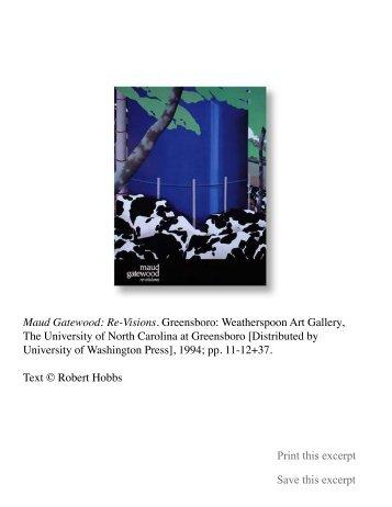 Maud Gatewood: Re-Visions - Robert Hobbs