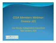 CESA Members Webinar: Finance 101 - Clean Energy States Alliance