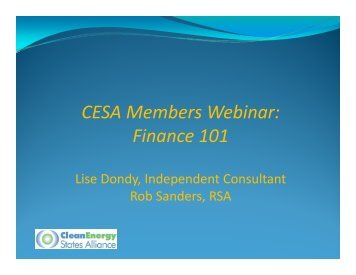 CESA Members Webinar: Finance 101 - Clean Energy States Alliance