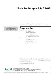 Avis Technique 21/09-06 Soprasolar - Photovoltaïque.info