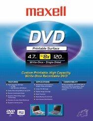 Specification Sheet - Maxell USA