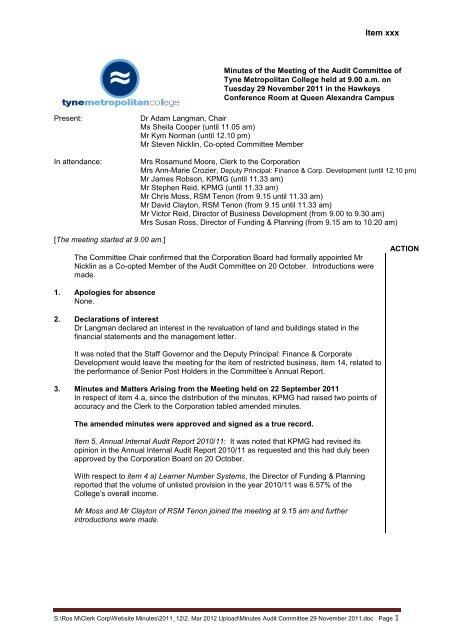 Format for Governors Meeting Minutes - Tyne Metropolitan College