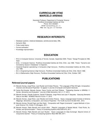 curriculum vitae marcelo arenas research interests education