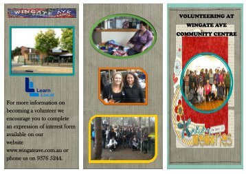 Volunteer Brochure - Wingate Avenue Community Centre