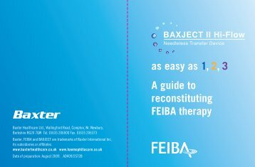 as easy as 1, 2, 3 A guide to reconstituting FEIBA therapy