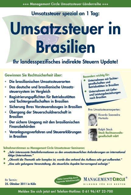 Seminar: Umsatzsteuer in Brasilien - Management Circle AG