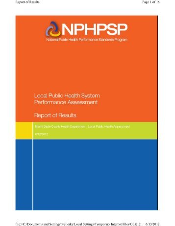 Appendix B Local Public Health System Performance Assessment