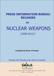 Nuclear and Arms Control Centre - Institute for Defence Studies and ...