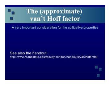 The (approximate) van't Hoff factor