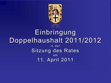 Einbringung Doppelhaushalt 2011/2012