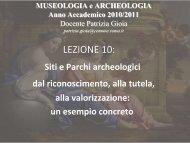 MUSEOLOGIA e ARCHEOLOGIA Anno Accademico 2010 ... - CISADU