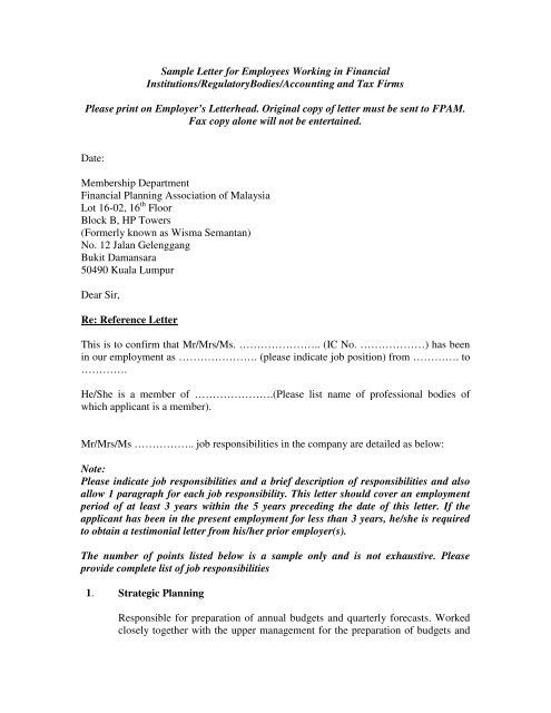 Letter to employer