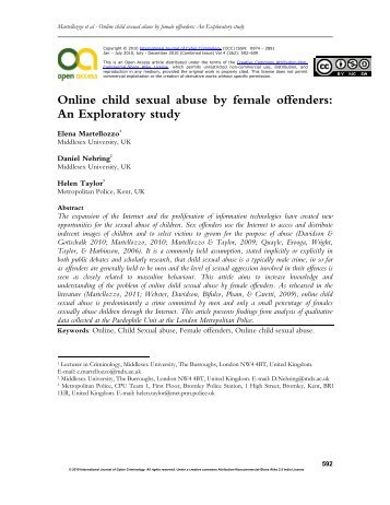Female sexual offenders an exploratory study