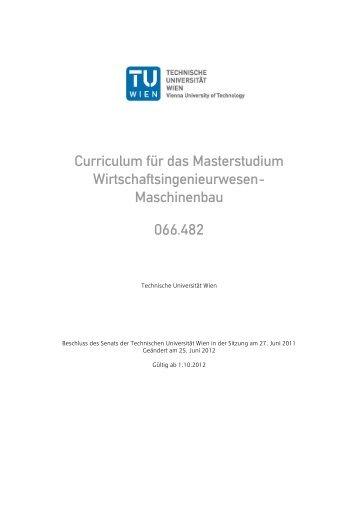 Curriculum für das Masterstudium Wirtschaftsingenieurwesen ...