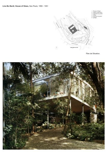 Lina Bo Bardi, House of Glass, Sao Paulo, 1950 - 1951 Plan de ...
