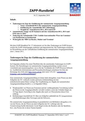 ZAPP-Rundbrief - DAKOSY Datenkommunikationssystem AG