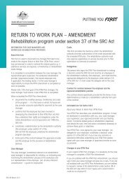Return to Work Plan – Amendment form - Comcare