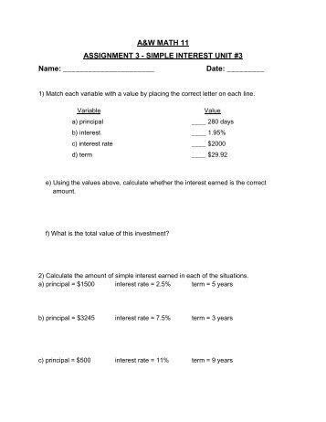 A&W MATH 11 ASSIGNMENT 3 - SIMPLE INTEREST UNIT #3 ...