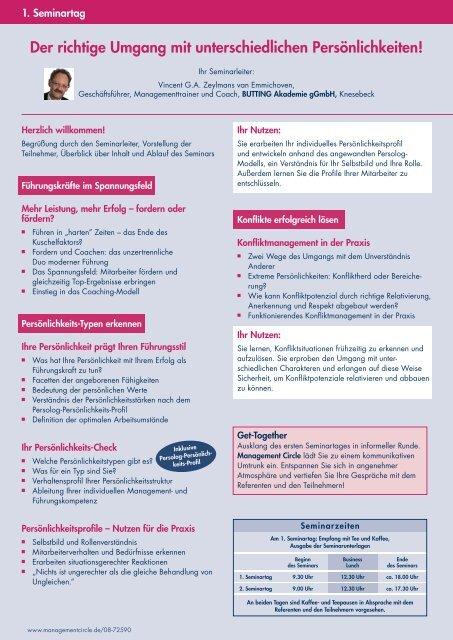 Seminar: Führen - Fordern - Coachen - Management Circle AG