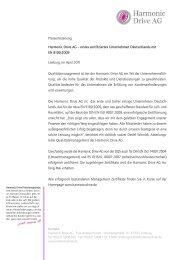 Pressemitteilung. Harmonic Drive AG – erstes zertifiziertes ...