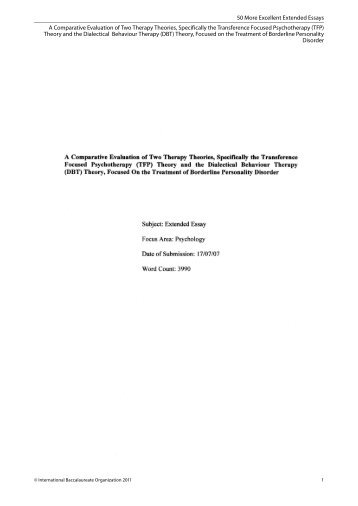 A Comparative Evaluation of Two Therapy Theories, Specifically the ...