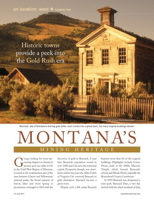 MONTANA'S - Leisure Group Travel