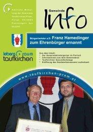 zum Ehrenbürger ernannt - Taufkirchen an der Pram