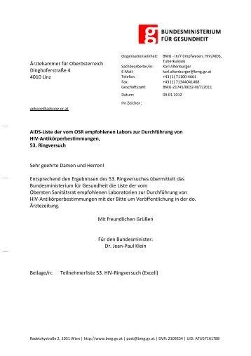 Ärztekammer für Oberösterreich Dinghoferstraße 4 4010 Linz AIDS ...