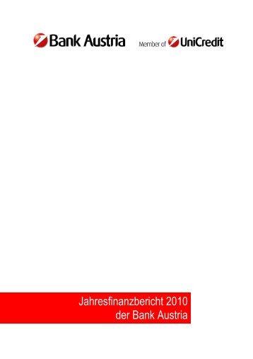 Jahresfinanzbericht 2010 der Bank Austria
