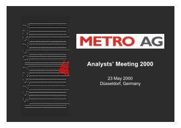 Analysts' Meeting 2000 - METRO GROUP