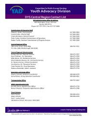 DYS Central Region Contact List - the Youth Advocacy Division