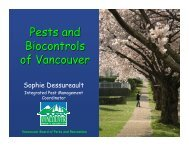 Pests and Biocontrols of V ancouver