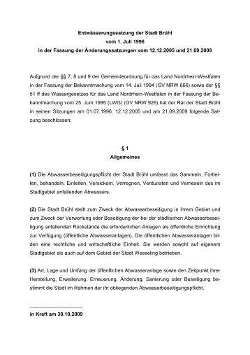 Entwässerungssatzung der Stadt Brühl vom 1. Juli 1996 in der ...