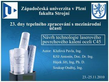 Ing. P. Klufová - Návrh technologie laserového ... - ATeam