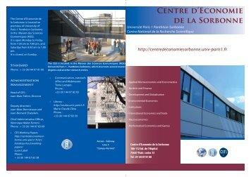 CENtRE d'EcONOMiE dE lA SORbONNE - Centre d'Économie de la ...