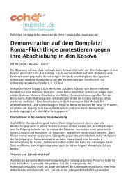 Demonstration auf dem Domplatz: Roma-Flüchtlinge ... - Aktion 302