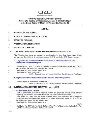 CAPITAL REGIONAL DISTRICT BOARD Notice of a Meeting on ...