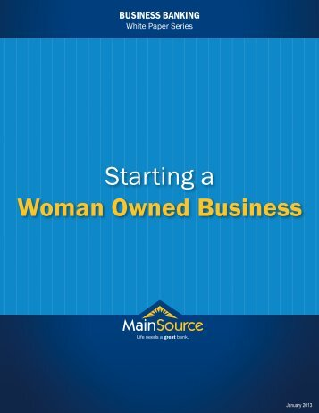 Starting a Woman Owned Business - MainSource Bank