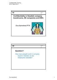 Confidentiality in Swedish company boardrooms, SE companies ...