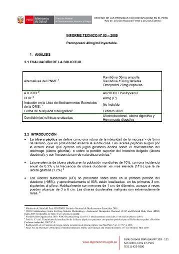 INFORME TECNICO Nº 03 – 2009 Pantoprazol 40mg/ml Inyectable ...