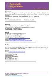 Termine aller Gruppen als PDF - Selbsthilfegruppe Lungenkrebs