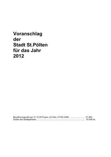Voranschlag der Stadt St.pölten für das Jahr 2012