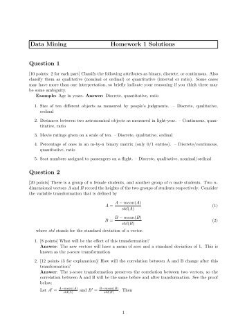 Data Mining Homework 1 Solutions Question 1 Question 2