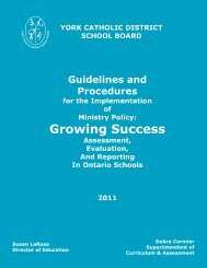 Assessment & Evaluation Document - the York Catholic District ...