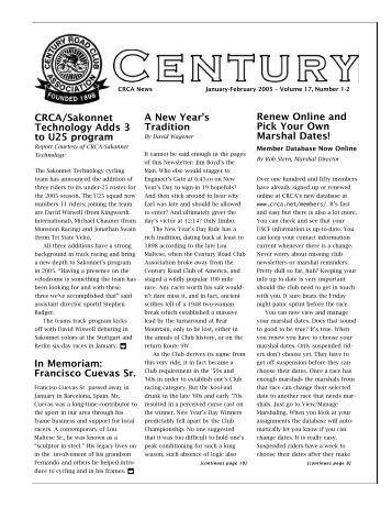 CRCA January-February 2005 Newsletter - Century Road Club ...